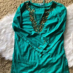 Turquoise with Bronze Trim Tunic by Antonio Melani